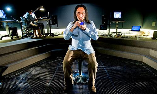 Ge Wang playing his iPhone at CCRMA